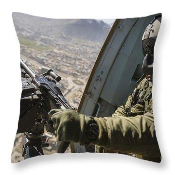 Czech Air Force Door Gunner Scans Throw Pillow