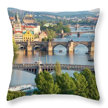 Czech Republic, Prague - Bridges Throw Pillow