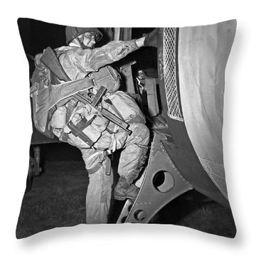 D-day Paratrooper Ready Throw Pillow