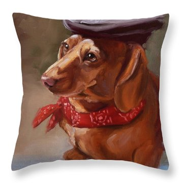 Dachshund Artist Dog With French Hat Throw Pillow
