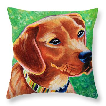 Dachshund Beagle Mixed Breed Dog Portrait Throw Pillow
