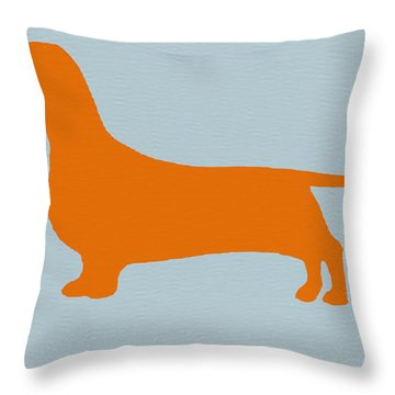 Dachshund Orange Throw Pillow by Naxart Studio
