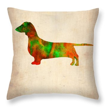 Dachshund Poster 2 Throw Pillow
