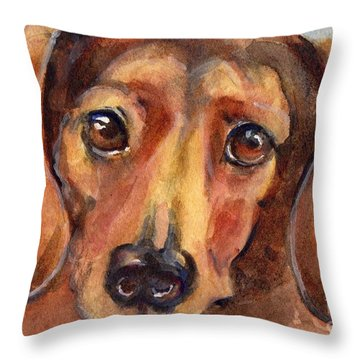 Dachshund Watercolor Throw Pillow by Maria's Watercolor