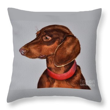 Dachshund Watercolor Painting Throw Pillow