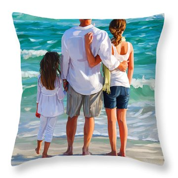 Dad And His Girls Throw Pillow