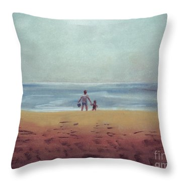 Daddy At The Beach Throw Pillow by Samantha Geernaert