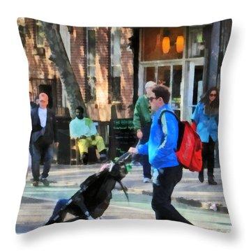 Daddy Pushing Stroller Greenwich Village Throw Pillow by Susan Savad