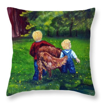 Daddy's Boys Throw Pillow