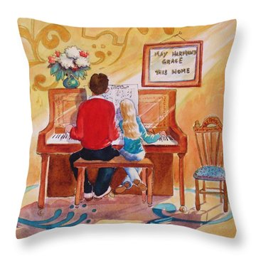 Daddy's Little Girl Throw Pillow by Marilyn Jacobson