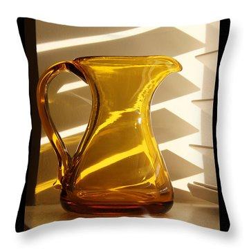 Dad's Amber Pitcher By Blenko Glass Throw Pillow by Karen Adams