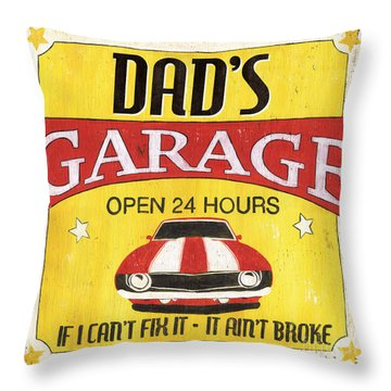 Dad's Garage Throw Pillow