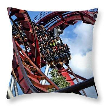 Daemonen - The Demon Rollercoaster - Tivoli Gardens - Copenhagen Throw Pillow