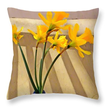 Daffodil Boquet Throw Pillow by Chris Berry