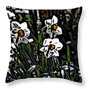 Throw Pillow featuring the digital art Daffodil by David Lane
