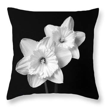 Daffodil Flowers Black And White Throw Pillow