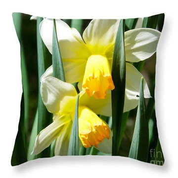 Throw Pillow featuring the photograph Daffodil Hug by Kristen Fox