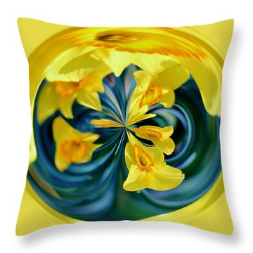 Daffodil Orb Throw Pillow by Cynthia Guinn