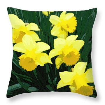 Daffodil Song Throw Pillow by Pamela Hyde Wilson