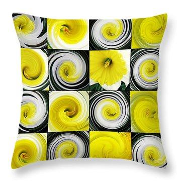 Daffodil Spring Mosaic Throw Pillow by Sarah Loft