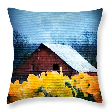 Daffodils And A Red Barn Throw Pillow by Lena Wilhite
