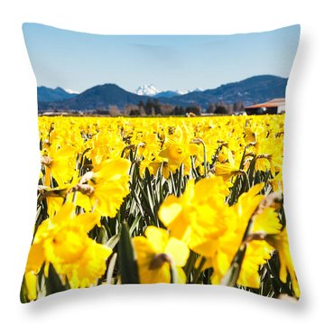 Daffodils And Snow-capped Mountains Throw Pillow