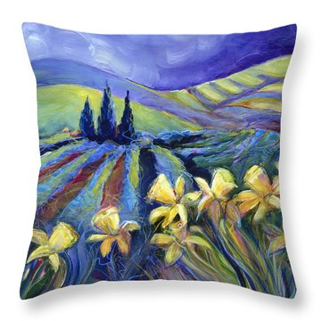 Daffodils And Stormclouds Throw Pillow