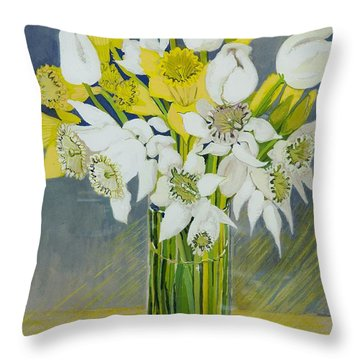 Daffodils And White Tulips In An Octagonal Glass Vase Throw Pillow by Joan Thewsey