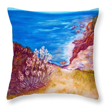 Daffodils At The Beach Throw Pillow by Augusta Stylianou