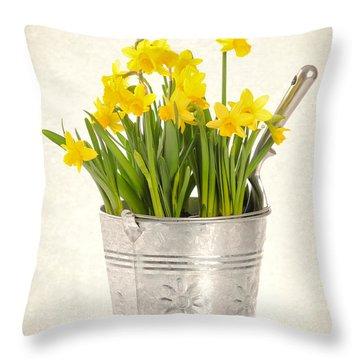 Daffodils Throw Pillow by Amanda Elwell