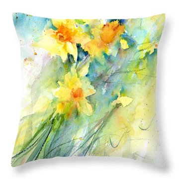 Daffodils Throw Pillow by Christy Lemp