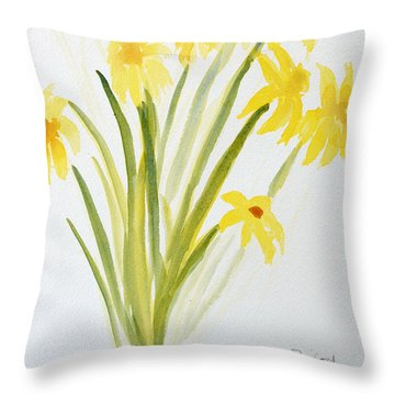 Daffodils For Mothers Day Throw Pillow by Wade Binford