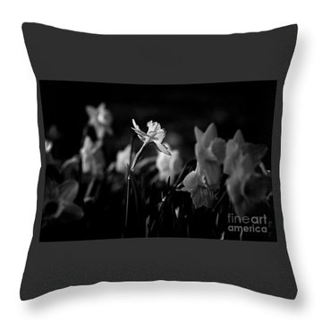 Daffodils In Black And White Throw Pillow