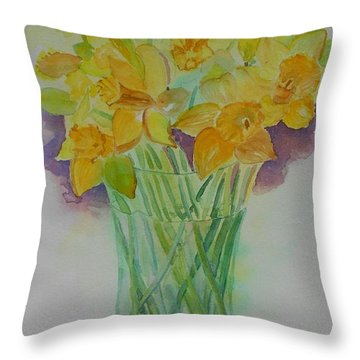 Daffodils In Glass Vase - Watercolor - Still Life Throw Pillow by Geeta Biswas