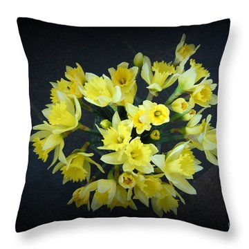 Daffodils Reaching Out Throw Pillow