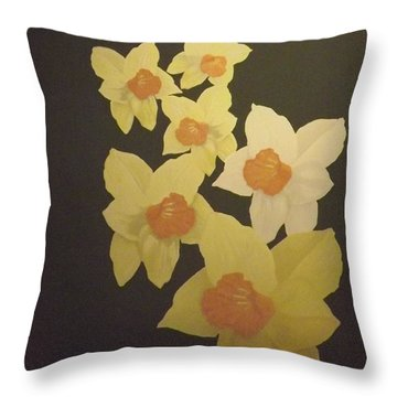 Throw Pillow featuring the digital art Daffodils by Terry Frederick