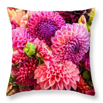 Dahlia Bouquet Number 2 Throw Pillow