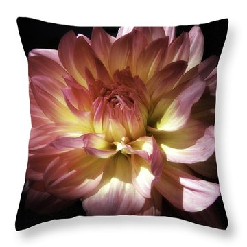 Dahlia Burst Of Pink And Yellow Throw Pillow