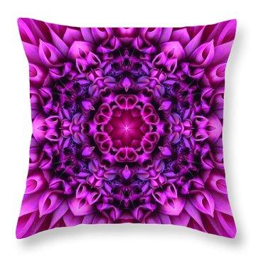 Dahlia Pink Star Mandala Throw Pillow