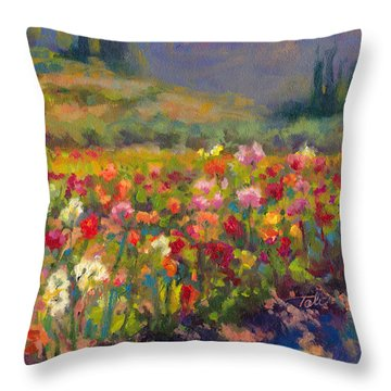 Dahlia Row Throw Pillow