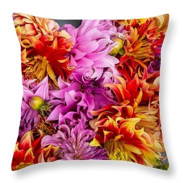 Dahlia Swirl Throw Pillow