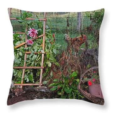 Dahlias And Chickens Throw Pillow by Denise Romano