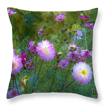 Dahlias And Cosmos  Throw Pillow by Judy Via-Wolff