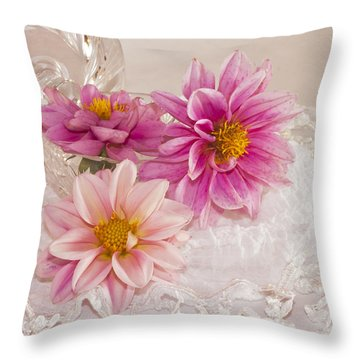 Throw Pillow featuring the photograph Dahlias And Lace by Sandra Foster