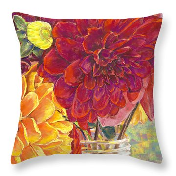 Dahlias In A Canning Jar Throw Pillow