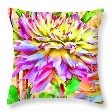 Throw Pillow featuring the photograph Dahlias In Digital Watercolor by Sandra Foster