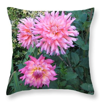 Dahlias Throw Pillow by Marlene Rose Besso