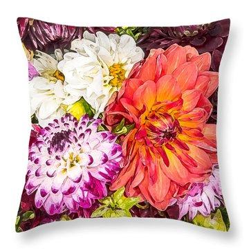 Dahlias Number 4 Throw Pillow