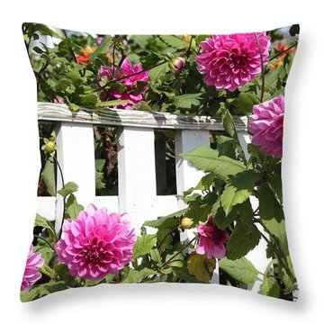 Dahlias Over The Fence Throw Pillow by Carol Groenen