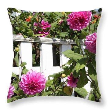 Dahlias Over The Fence Throw Pillow by Carol Groenen